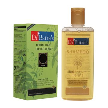 Dr Batra's | Dr Batra's Herbal Hair Color Cream Brown 130 G and Normal Shampoo 200 ml (Pack of 2 Men and Women)