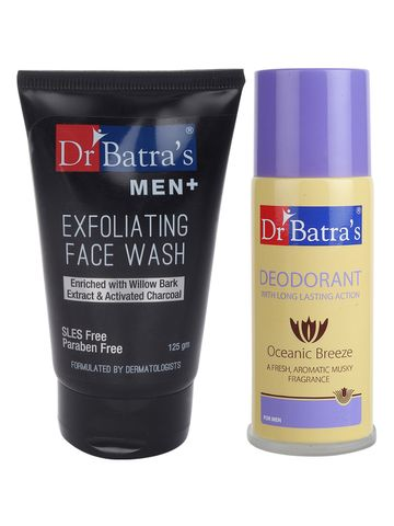 Dr Batra's | Dr Batra's Men Exfoliating Face Wash - 125 g and Deo For Men 100 Gm (Pack of 2 for Men)