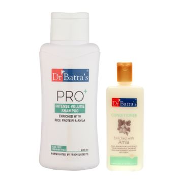 Dr Batra's | Dr Batra's Pro+Intense Volume Shampoo 500 ml and Conditioner 200 ml (Pack of 2 Men and Women)