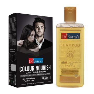 Dr Batra's | Dr Batra's Colour Nourish Hair Colour Cream - Black 120 G and Normal Shampoo 200ml (Pack of 2 Men and Women)