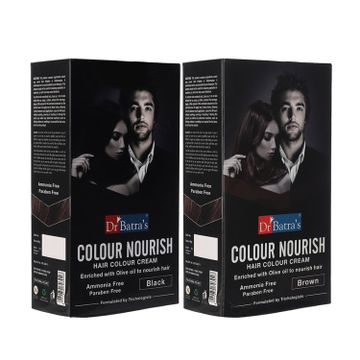 Dr Batra's | Dr Batra's Colour Nourish Hair Colour Cream - Black and Colour Nourish Hair Colour Cream - Brown ( Pack of 2 Men and Women)