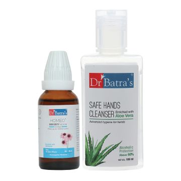 Dr Batra's | Dr Batra's Homeo+ Immunity Medicine Oral Drops|Scientific & Natural |Stay Home, Stay Safe - 30 ml and Safe Hands Cleanser |Aloe vera - 100 ml