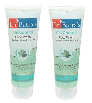 Dr Batra's | Dr Batra's Oil Control Face Wash Sulphate, Silicone & Soap Free Enriched With Barosma Betulina Leaf & Echinancea Extract For Oil Free & Clear Skin - 100 gm (Pack of 2)