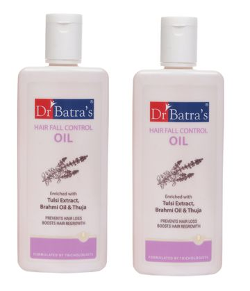 Dr Batra's | Dr Batra's Hair Fall Control Oil Enriched With Tulsi Extract, Brahmi Oil & Thuja - 200 ml (Pack of 2)