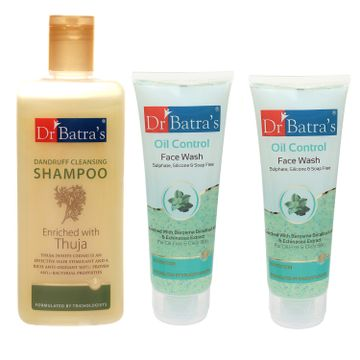 Dr Batra's | Dr Batra's Dandruff Cleansing Shampoo - 200 ml and Oil Control Face Wash 200ml (Pack of 3 Men and Women)