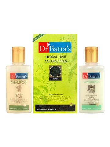 Dr Batra's | Dr Batra's Herbal Hair Color Cream-Black, Dandruff Cleansing Shampoo - 100 ml and Conditioner - 100 ml ( Pack of 3 Men and Women)