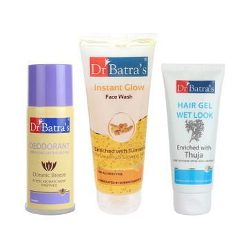 Dr Batra's | Dr Batra's Hair Gel - 100 gm, Instant Glow Face Wash 200 gm and Deo For Men-100gm (Pack of 3 for Men)