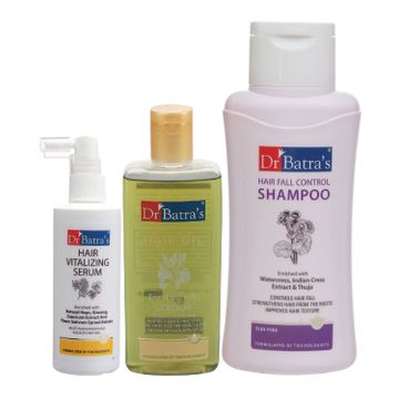 Dr Batra's | Dr Batra's Hair Vitalizing Serum 125 ml, Hair Fall Control Shampoo - 500 ml and Hair Oil - 200 ml
