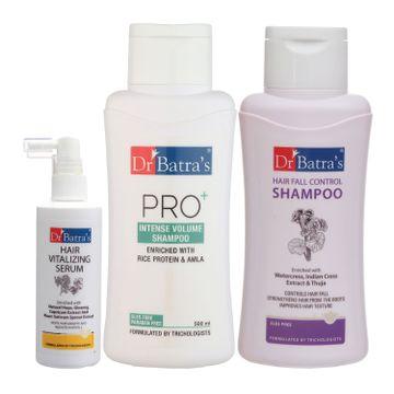 Dr Batra's   Dr Batra's Hair Vitalizing Serum 125 ml, Hair Fall Control Shampoo - 500 ml and Pro+ Intense Volume Shampoo - 500 ml