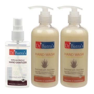 Dr Batra's | Dr Batra's Hand Wash|Aloe Vera|10x Better Protection Against Germs - 300 ml (Pack of 2) and Non Alcoholic Hand Sanitizer - 100 ml