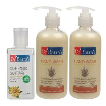 Dr Batra's | Dr Batra's Hand Wash|Aloe Vera|10x Better Protection Against Germs - 300 ml (Pack of 2) and Safe Hand Sanitizer|Calendula Extracts - 100 ml