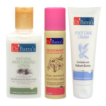 Dr Batra's | Dr Batra's Natural Moisturising Lotion 100 ml, Deo For Women 100 G and Foot Care Cream 100 ml(Pack of 3 For Women)