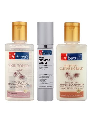 Dr Batra's | Dr Batra's Skin Toner - 100 ml, Natural Cleansing Milk - 100 ml and Skin Fairness Serum - 50 g (Pack of 3 for Men and Women)