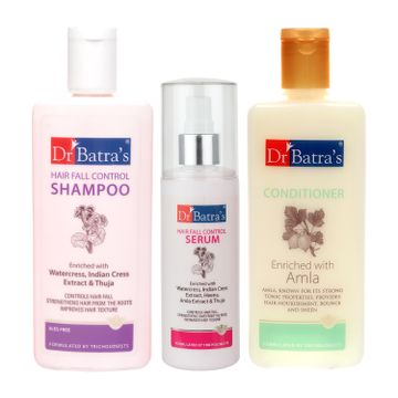 Dr Batra's | Dr Batra's Hair Fall Control Shampoo 200ml, Conditioner 200 ml and Hair Fall Control Serum 125 ml (Pack of 3 Men and Women)