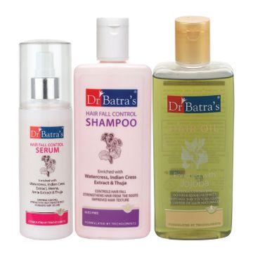 Dr Batra's   Dr Batra's Hair Fall Control Serum-125 ml, Hairfall Control Shampoo- 200 ml and Hair Oil - 200 ml