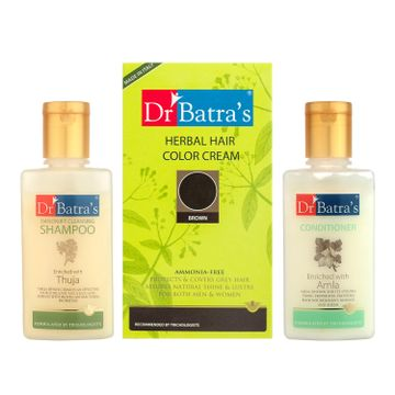 Dr Batra's | Dr Batra's Herbal Hair Color Cream- Brown, Dandruff Cleansing Shampoo - 100 ml and Conditioner - 100 ml (Pack of 3 Men and Women)