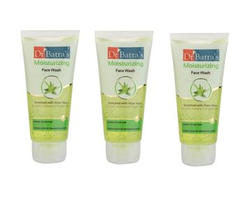 Dr Batra's   Dr Batra's Moisturizing Face Wash Enriched With Aloe Vera Soft, Hydrated & Supple Skin - 50 gm (Pack of 3)