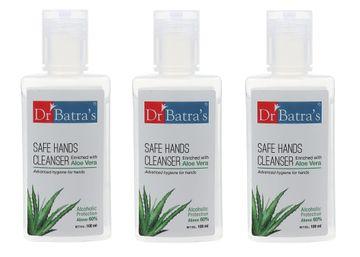 Dr Batra's   Dr Batra's Safe Hands Cleanser Enriched With Aloe vera - 100 ml (Pack of 3)