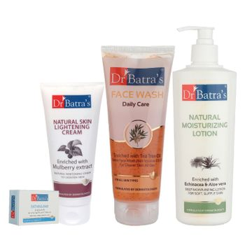 Dr Batra's | Dr Batra's Daily Care Face Wash 200 gm, Bathing Bar - 125 gm, Natural Moisturising Lotion - 400 ml and Natural Skin Lightening Cream - 100 gm (Pack Of 4 For Men And Women)