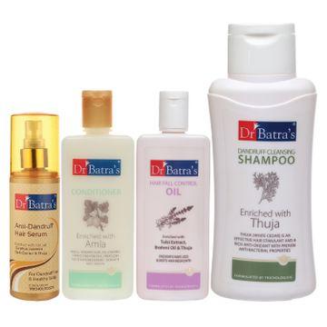 Dr Batra's   Dr Batra's Anti Dandruff Hair Serum, Conditioner - 200 ml, Hair Fall Control Oil- 200 ml and Dandruff Cleansing Shampoo - 500 ml