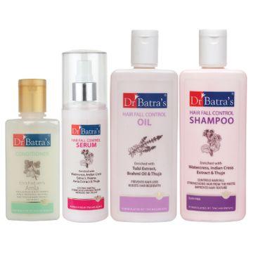 Dr Batra's | Dr Batra's Hair Fall Control Serum-125 ml, Conditioner - 100 ml, Hair Fall Control Oil- 200 ml and Hair Fall Control Shampoo - 200 ml