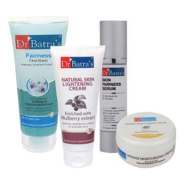Dr Batra's | Dr Batra's Skin Fairness Serum - 50 G, Fairness Face Wash 100 gm, Natural Skin Lightening Cream - 100 gm and Intense Moisturizing Cream -100 G (Pack of 4)