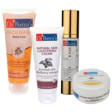 Dr Batra's | Dr Batra's Age Defying Skin Firming Serum - 50 G, Face Wash Daily Care - 100 gm, Natural Skin Lightening Cream - 100 gm and Intense Moisturizing Cream -100 G (Pack of 4)