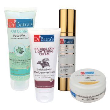 Dr Batra's | Dr Batra's Age Defying Skin Firming Serum - 50 G, Face Wash Oil Control - 100 gm, Natural Skin Lightening Cream - 100 gm and Intense Moisturizing Cream -100 G (Pack of 4)
