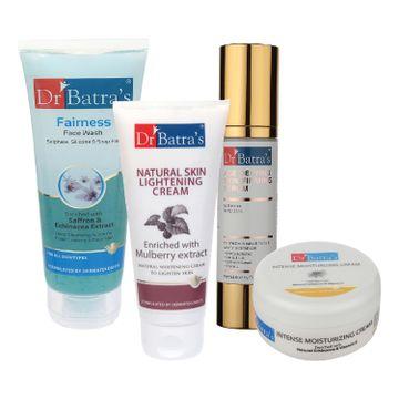 Dr Batra's | Dr Batra's Age Defying Skin Firming Serum - 50 G, Fairness Face Wash 100 gm, Natural Skin Lightening Cream - 100 gm and Intense Moisturizing Cream -100 G (Pack of 4)