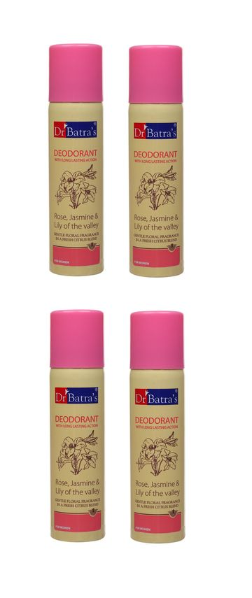 Dr Batra's | Dr Batra's Deodarant With Long Lasting Action Rose, Jasmine & Lily Of The Valley - 100 gm (Pack of 4)
