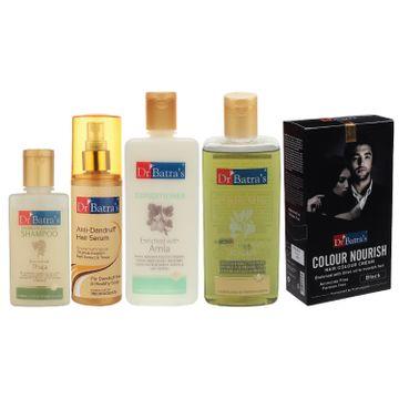 Dr Batra's | Dr Batra's Anti Dandruff Hair Serum, Conditioner - 200 ml, Hair Oil - 200 ml, Nourish Hair Colour Black and Dandruff Cleansing Shampoo - 100 ml