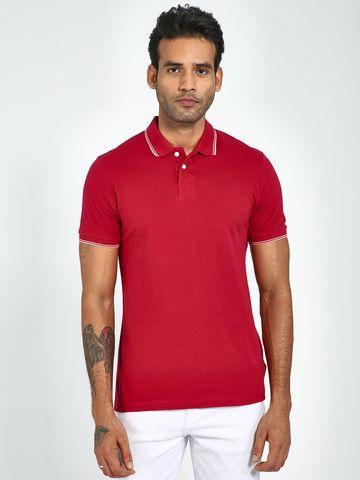 Blue Saint   Blue Saint Men's Red Regular Fit T-Shirts
