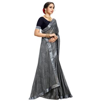 SATIMA | Designer Grey Lycra Self-Design LACE Saree