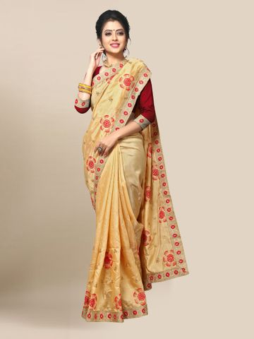 SATIMA | WOMEN'S SELF DESIGN BEIGE RED MIX SILK BLEND SAREE