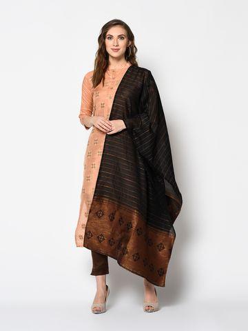 SATIMA | Women's Orange Solid Cotton Unstitched Salwar Suit