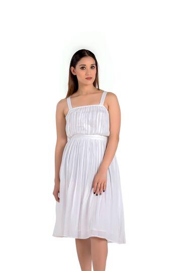 EUDORA CUT | White Shoulder Strap Dress