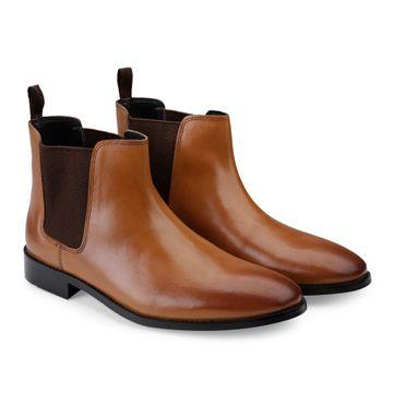 Hats Off Accessories | Hats Off Accessories Genuine Leather Tan Burnish Chelsea Boots