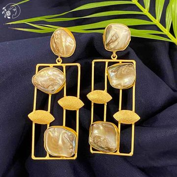 Swabhimann Jwellery | Swabhimann Yama Mother of Pearl Earrings with Gold Leaf
