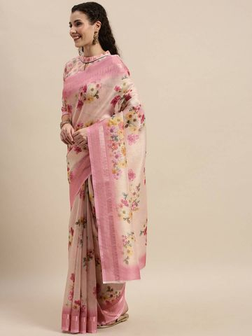 SATIMA | Women's Pink Digital Floral Print Woven Saree