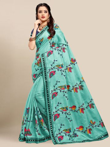 SATIMA | Latest Light Blue Colour Embroidered Cotton Blend Saree