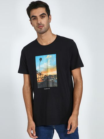 Blue Saint | Blue Saint Men's Black Regular Fit T-Shirts