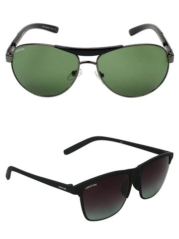 CREATURE | CREATURE Brown Sunglasses Combo with UV Protection (Lens-Brown|Frame-Grey & Black)