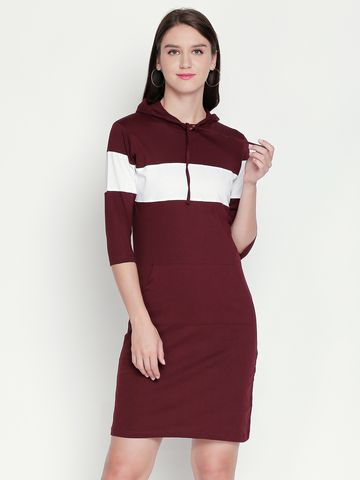 Jhankhi | Burgundy Colourblocked Shift Dress Hoodie