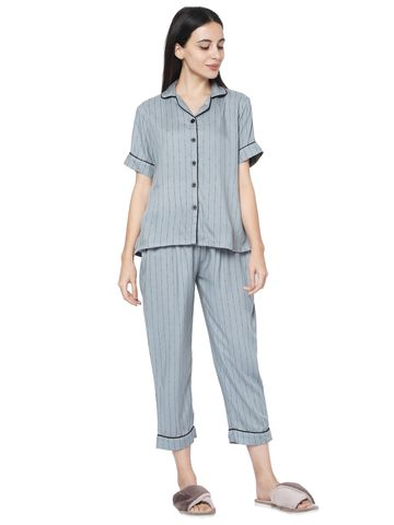 Smarty Pants | Smarty Pants women's grey & black stripes cotton print night suit