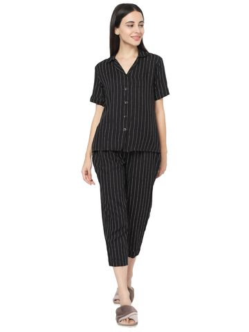 Smarty Pants | Smarty Pants women's black & white stripes cotton print night suit