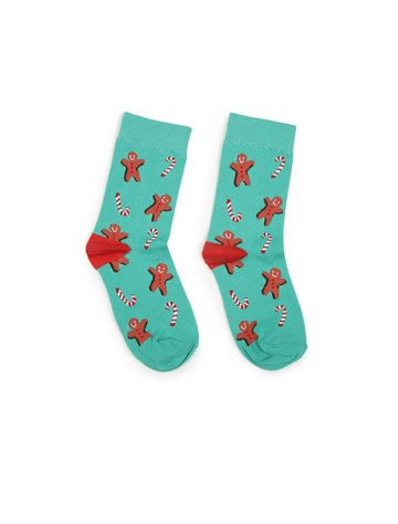 Soxytoes | Soxytoes Gingerbread Man Cotton Crew Length Blue Kids Socks-Age (8-12 Years)