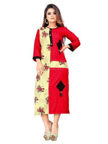 SATIMA | Red Beige Colored Casual Rayon Kurti