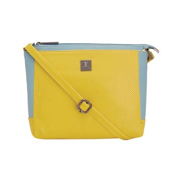 ESBEDA | ESBEDA yellow and Aqua Two Contrasting Colors Sling bag For Women