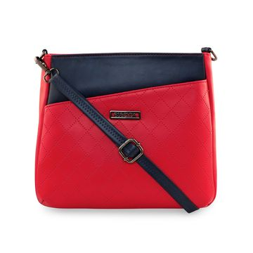 ESBEDA | ESBEDA Red Color Tiny Dot Texture Sling Bag For Women