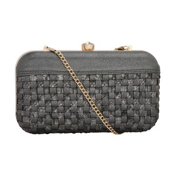 ESBEDA | ESBEDA Black Color Glitter Shine Box Clutch For Women